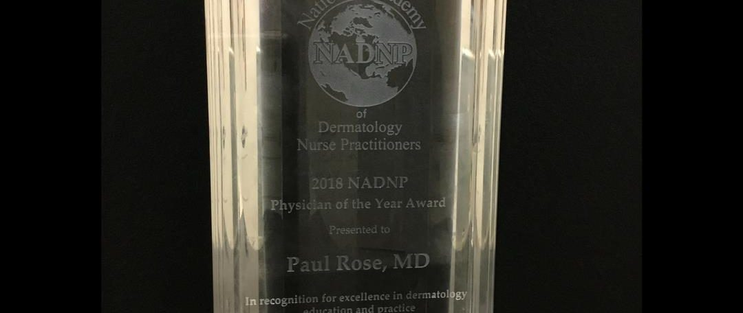 2018 National Academy of Dermatology Nurse Practitioners (NADP) Physician of the Year award
